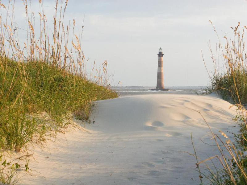 Lighthouse on the sandy beach surrounded by greenery growth