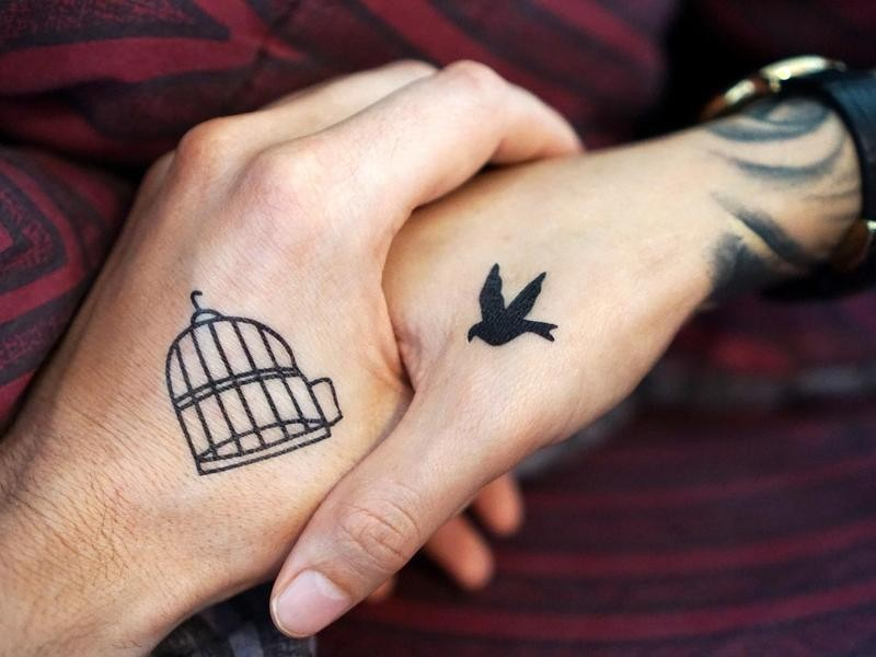 Bird and Cage Tattoos