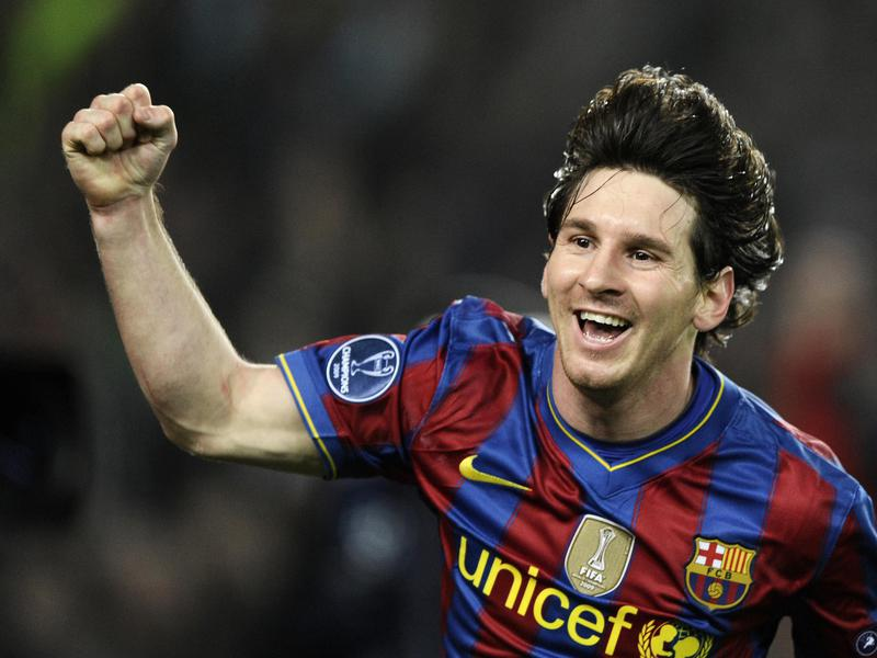 Barcelona's Lionel Messi reacts after scoring a goal against Arsenal in a Champions League match in 2010.
