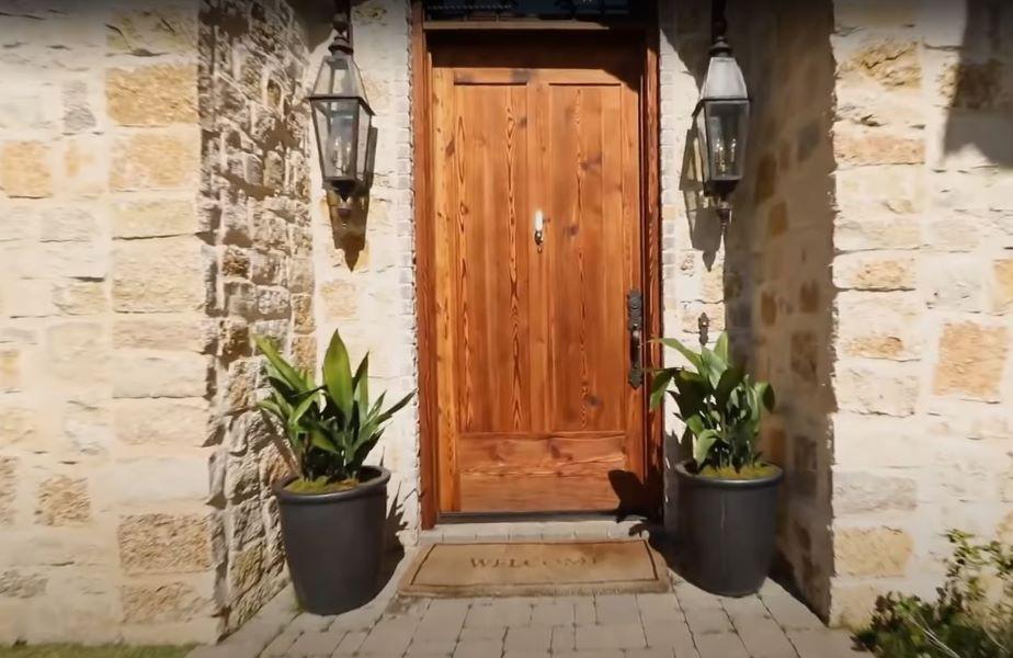 Heavy wood front door