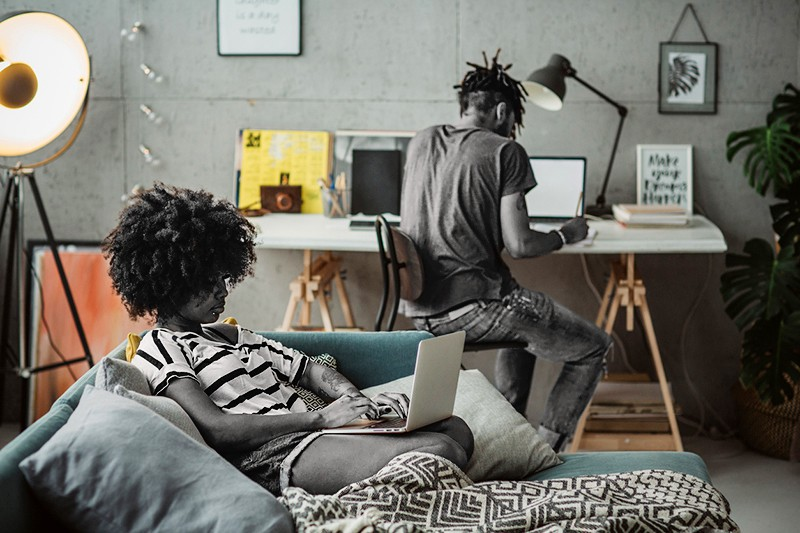 Young couple finishing some office work from home