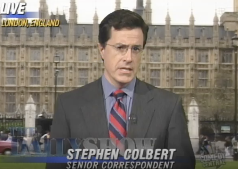 """Stephen Colbert performs as a Senior Correspondent on """"The Daily Show.  He said of his time there: """"[I]t was totally a day job. I never expected to stay, because I did sketch comedy and I wrote, and I really didn't think that [it] was going to go anyplace."""""""