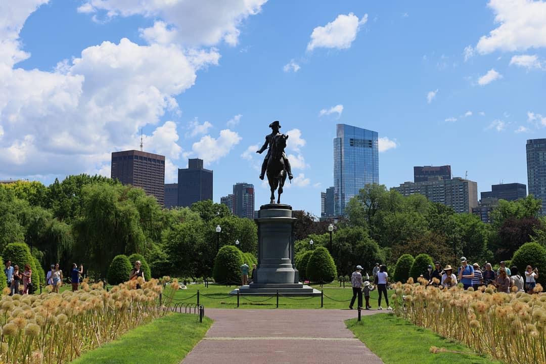 Boston Common view of statue