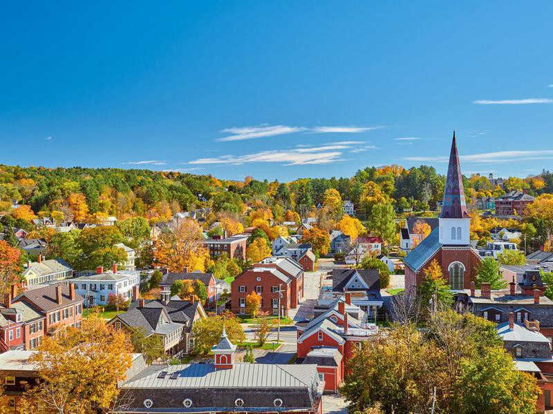 Montpelier town in autumn, Vermont