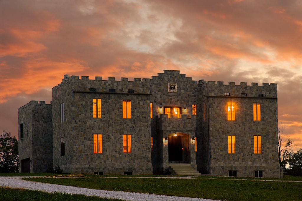 Clayshire Castle at sunset