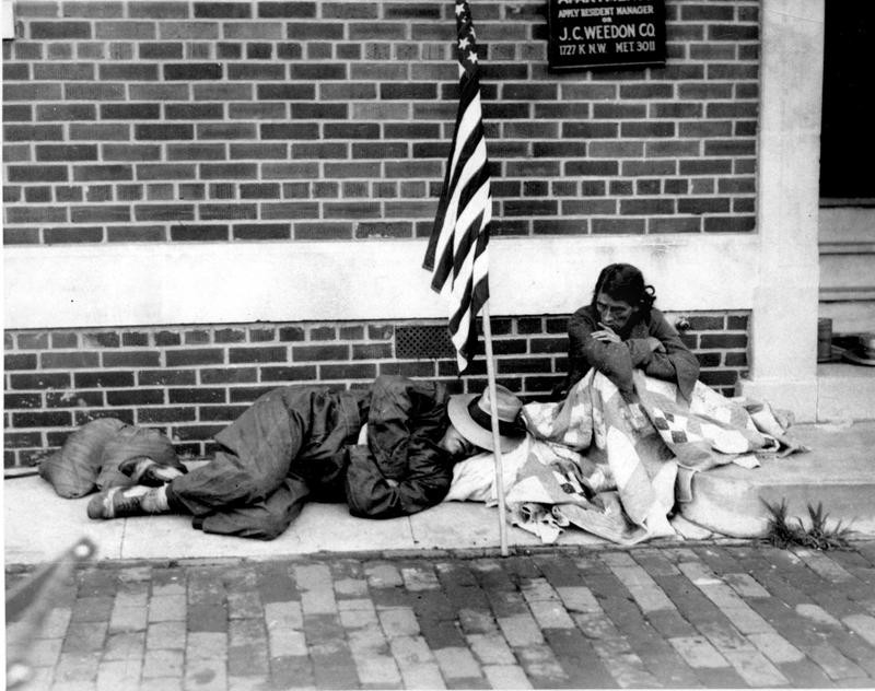 Homeless war vet during the Great Depression