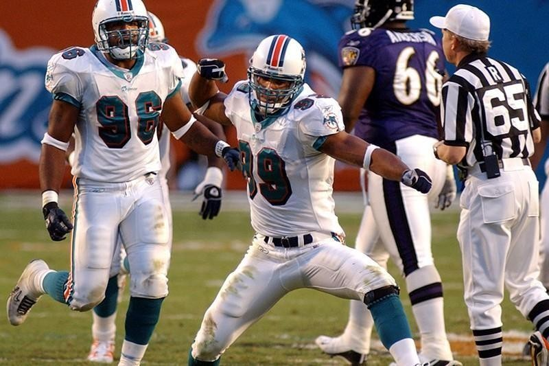 Miami Dolphins defensive end  Jason Taylor in 2002