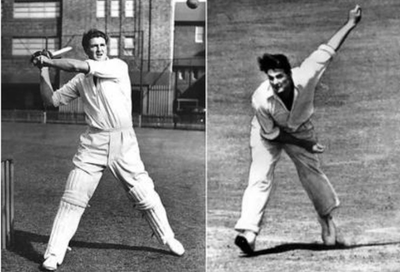 Keith Miller batting and bowling