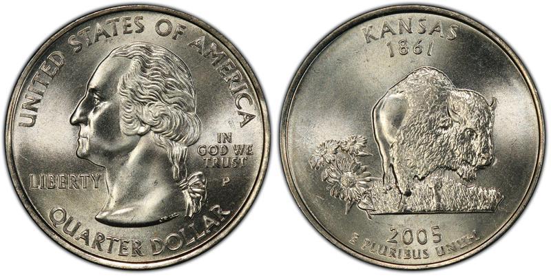 2005 U.S. Filled Die Kansas State Quarter