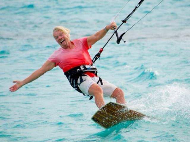 Richard Branson surfing