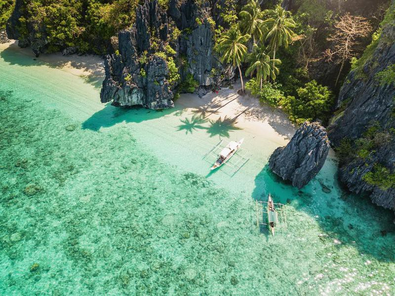 Aerial view of Palawan in the Philippines