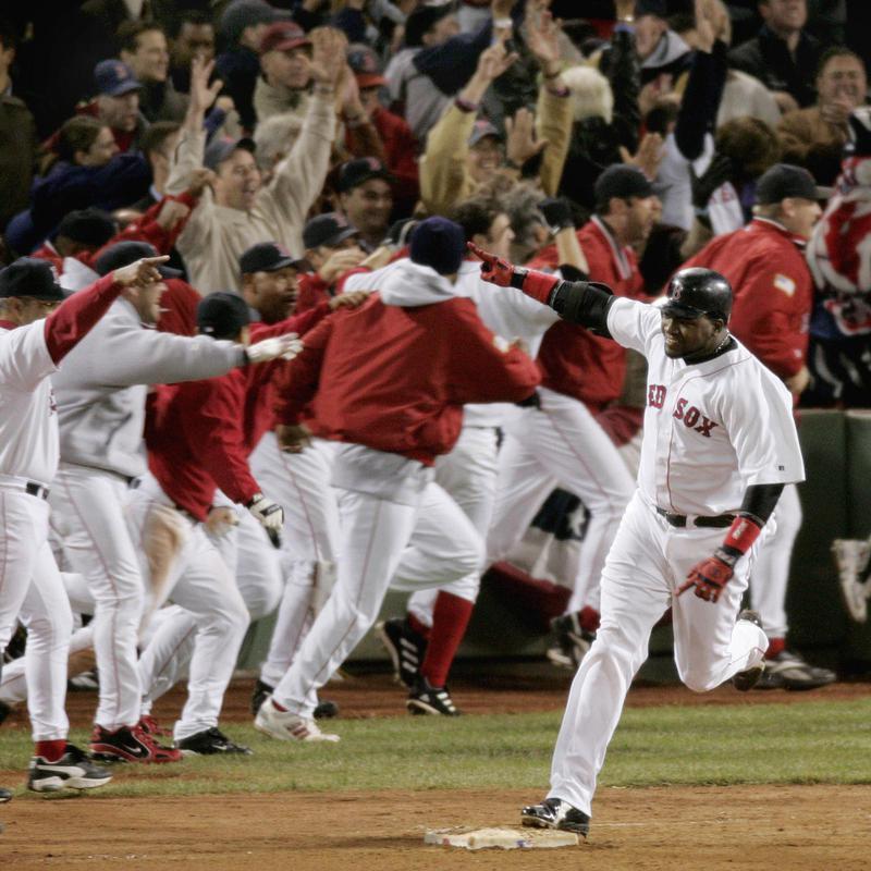 Boston Red Sox's David Ortiz celebrates