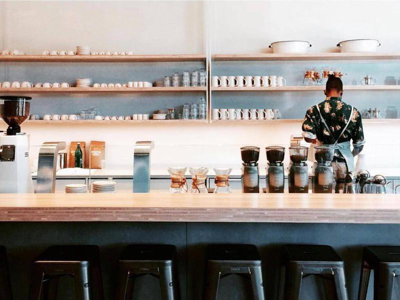 Inside minimalist coffee shop