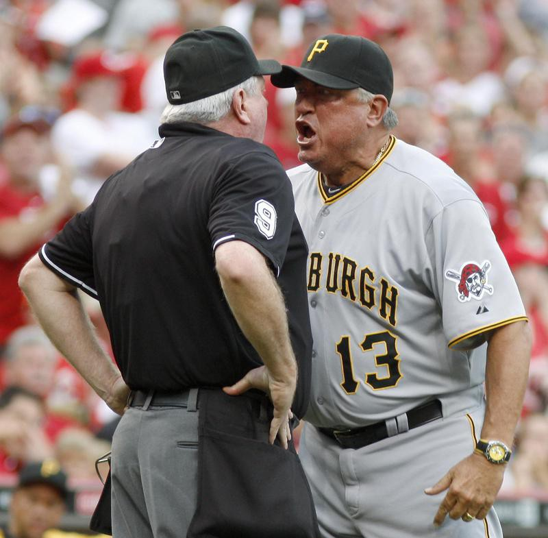 Clint Hurdle has words with umpire