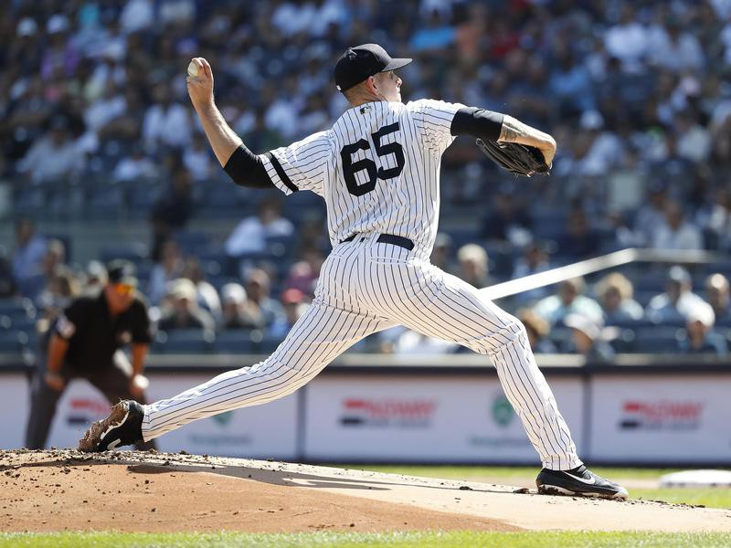 New York Yankees starting pitcher James Paxton pitches against Toronto Blue Jays