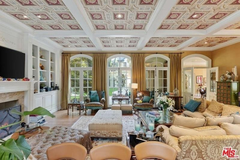 Coffered, wallpapered ceiling