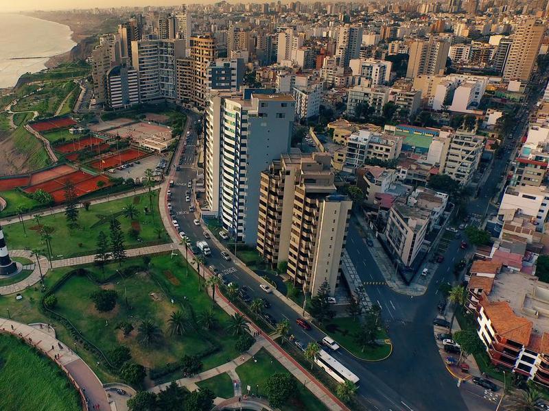 Aerial view of Lima Peru Miraflores cosatline