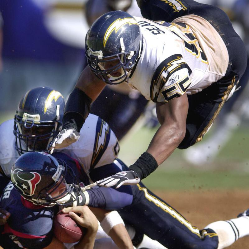 Junior Seau playing against the Houston Texans