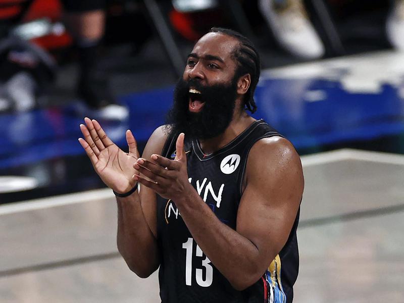 Brooklyn Nets guard James Harden reacts against Boston Celtics