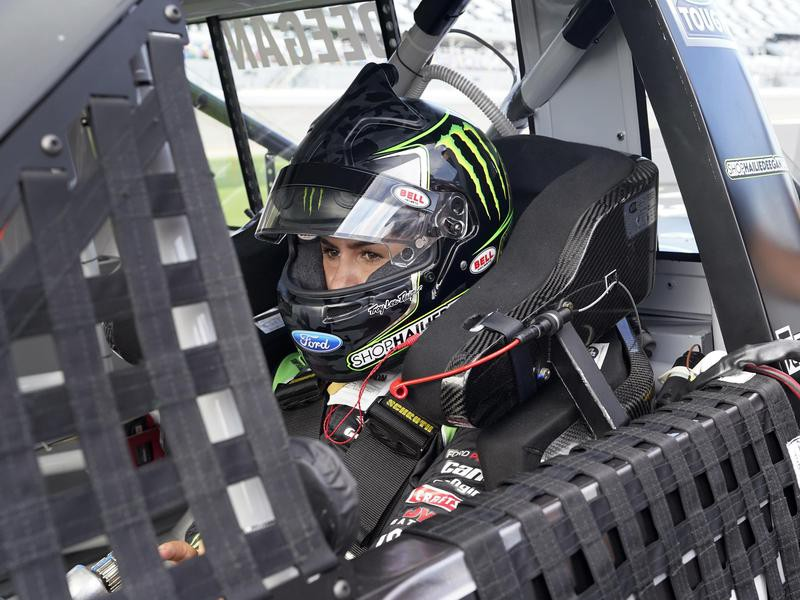 Hailie Deegan prepares to go out on the track
