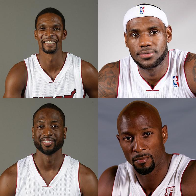 Chris Bosh, LeBron James, Alonzo Mournig, Dwyane Wade