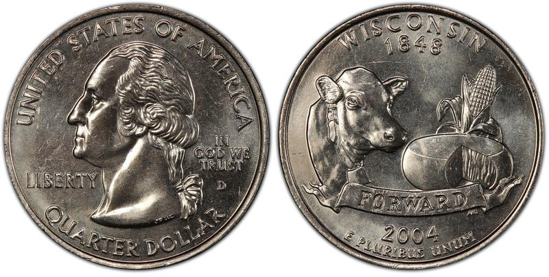 2004-D U.S. Wisconsin Extra Leaf Quarter