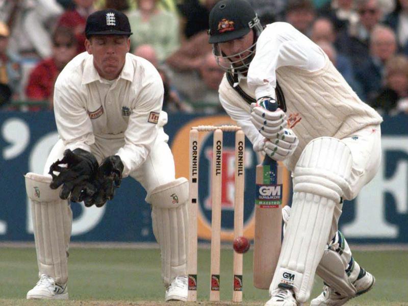 Australia's Steve Waugh defends ball