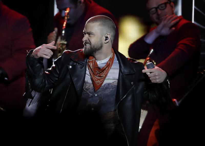 Justin Timberlake performs during halftime Super Bowl in Minneapolis, Minnesota, in 2018.