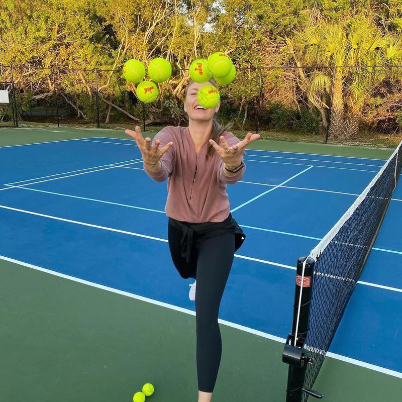 Maria Sharapova on a tennis court