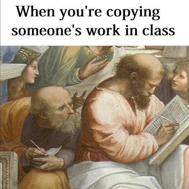 Cheating art history meme