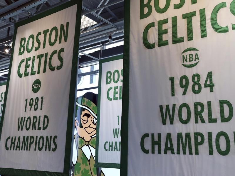 Lucky winking through championship banners