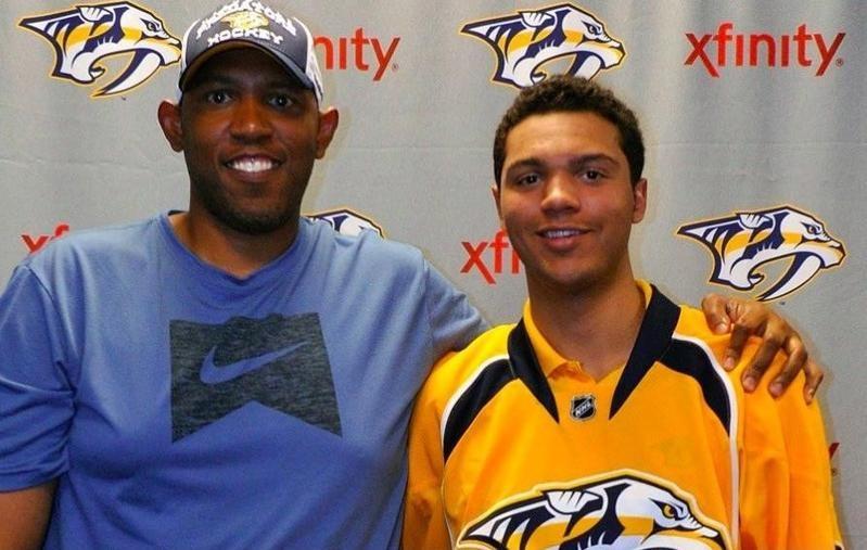 Seth Jones of Nashville Predators poses with father Popeye Jones
