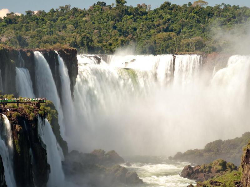 Parana River coming down Iguazu Falls