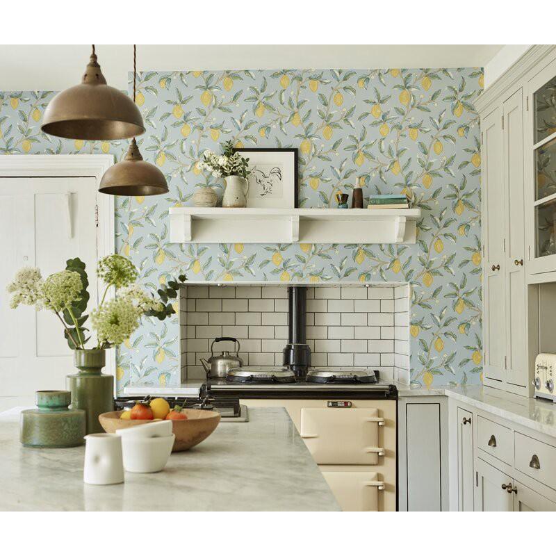 Lemon tree wallpaper in a kitchen