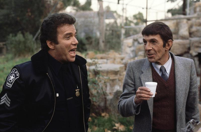 """Shatner took on many, many roles in his post-""""Star Trek"""" life, including the title character of """"T.J. Hooker."""" He's on set here with Leonard Nimoy in 1982."""