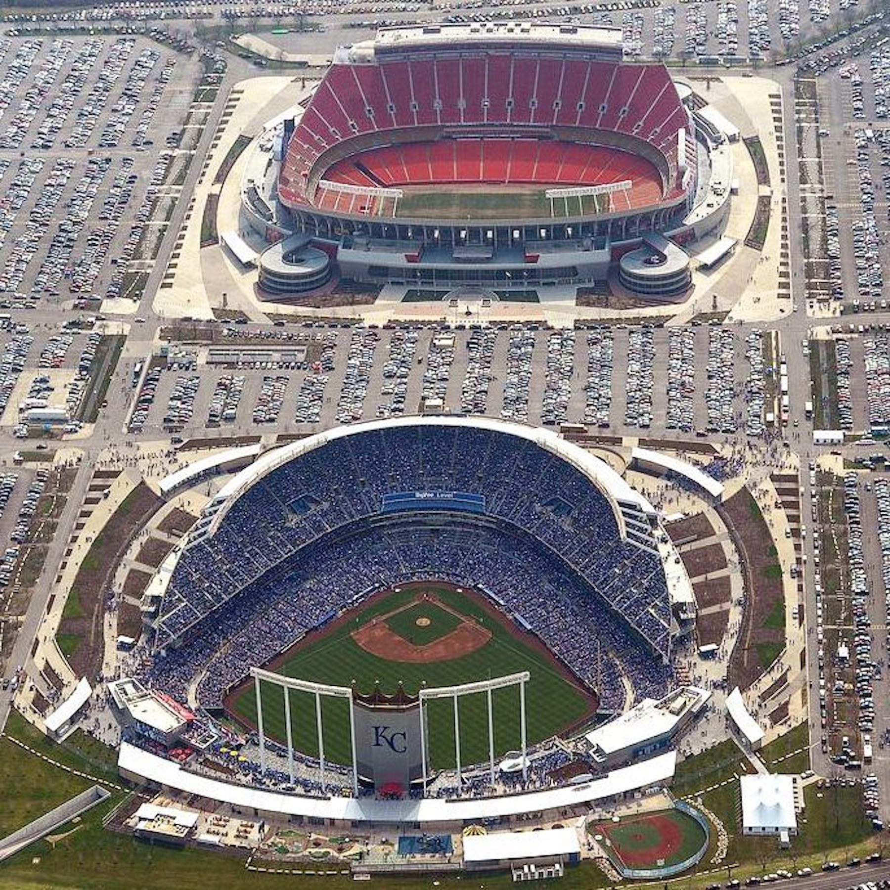 Arrowhead Stadium and Kauffman Stadium