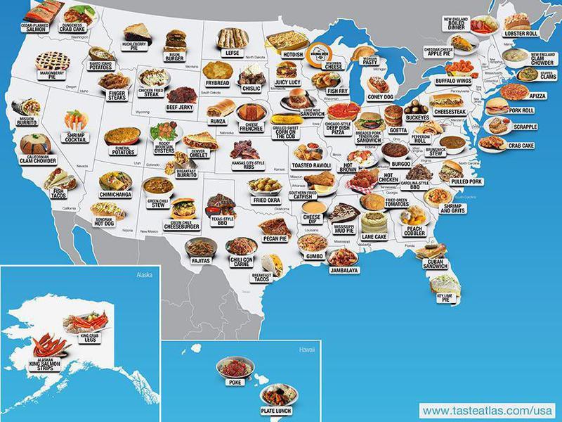 Map of regional food in America
