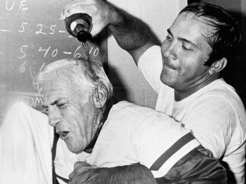 Sparky Anderson gets champagne poured on him