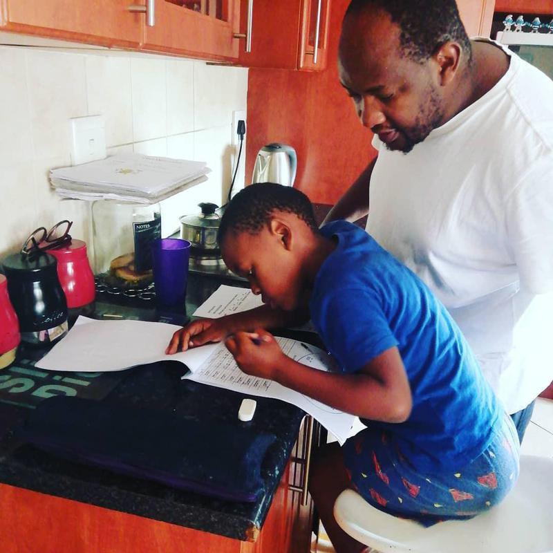 Father facilitating learning