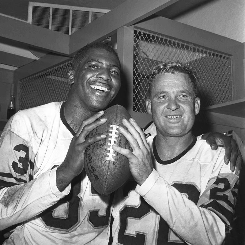 Bobby Layne posing with John Johnson