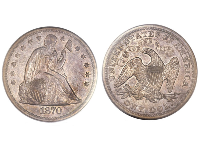 1870-S Seated Liberty Silver Dollar