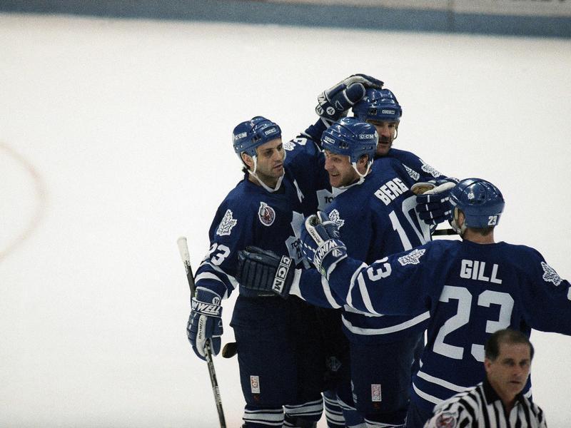 Toronto Maple Leafs players celebrate goal