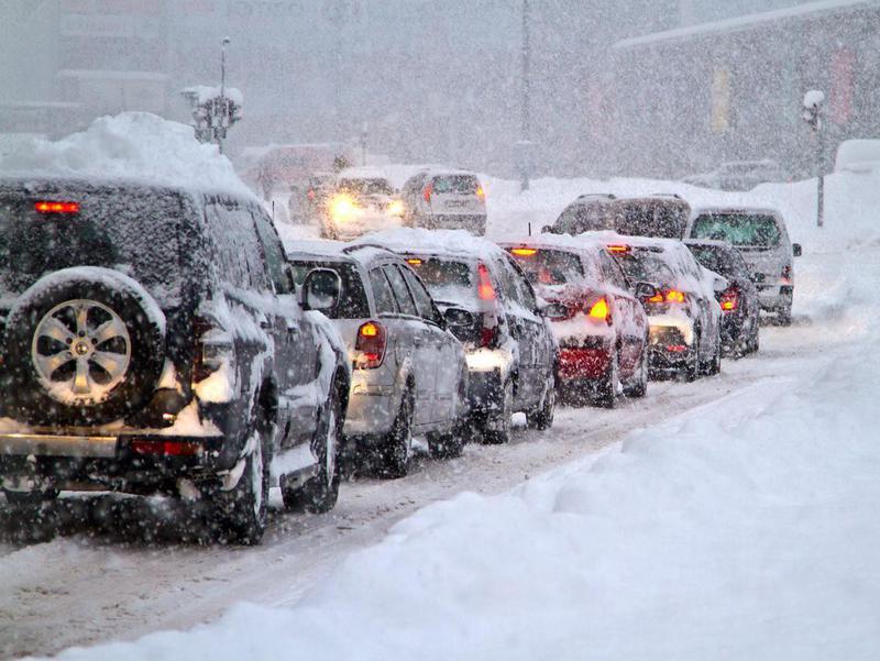 Blizzard on Slovakian road