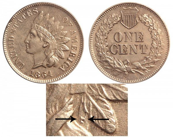 1864 Indian Head Cent : With L