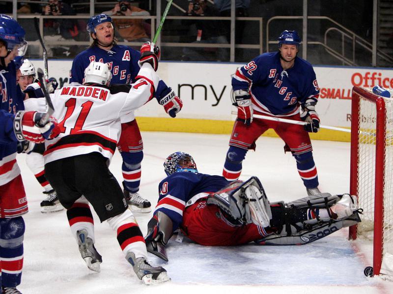 New Jersey Devils' John Madden turns to celebrate
