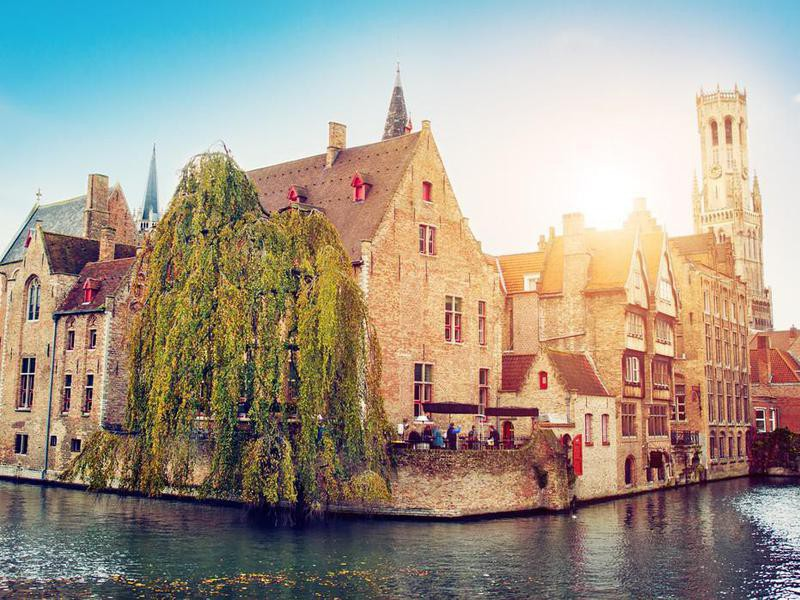 Waterfront buildings in Bruges, Belgium