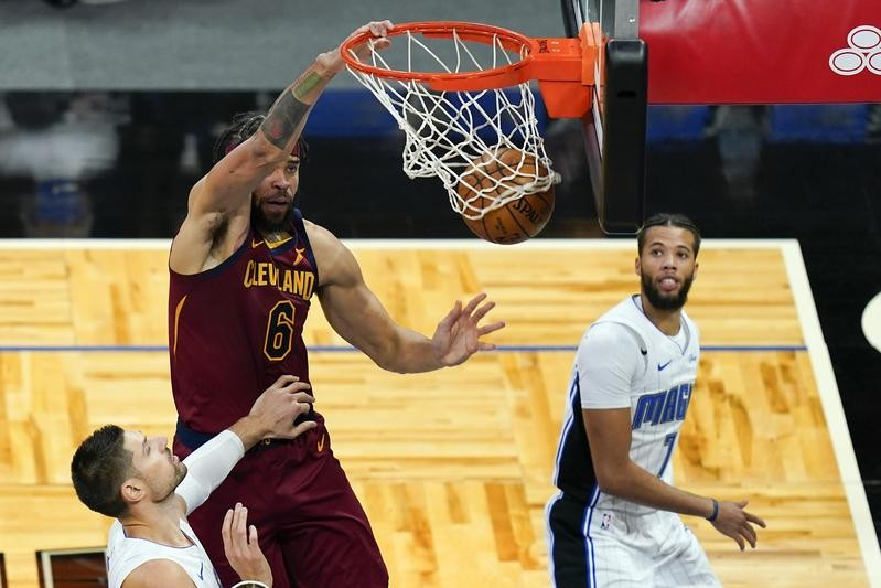 JaVale McGee of the Cleveland Caveliers dunks ball against Orlando Magic