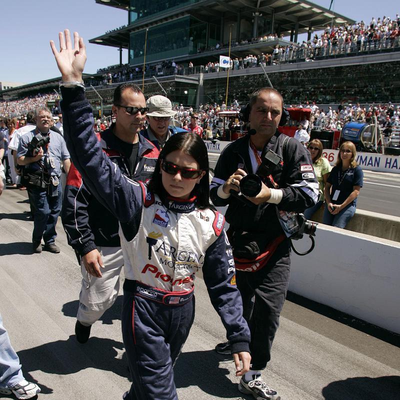 Danica Patrick waves to crowd