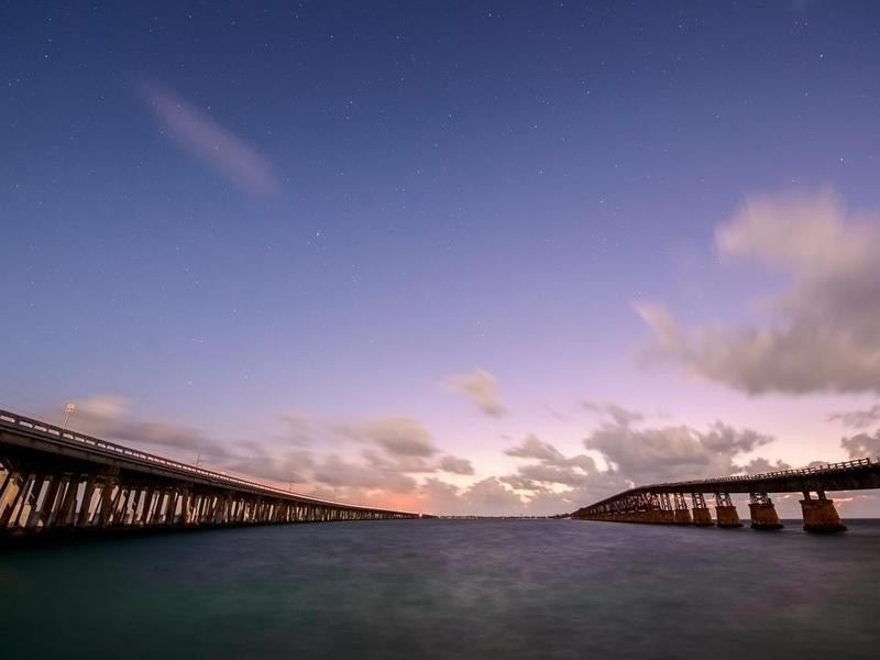 Bridges of Florida Keys under night sky