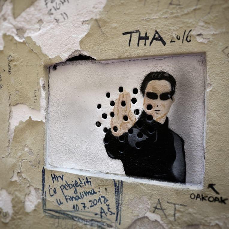 The Matrix street art in Zagreb, Croatia
